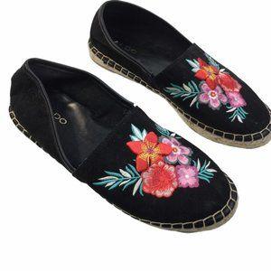 ALDO Black Flower Embroidered Cord Espadrilles 7